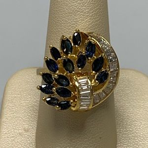 Jewelry - 18K Yellow Gold Sapphire and Diamond Ring